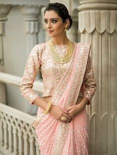Sangrias at Amer' and 'Gulaab Nagri' – Two Stunning Collection Launch by Vasansi, Jaipur! Sari Design, Saree Blouse Neck Designs, Fancy Blouse Designs, Choli Designs, Golden Blouse Designs, Lehenga Choli, Dhoti Saree, Indian Lehenga, Bridal Lehenga