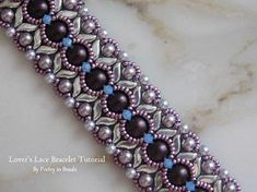 Embroidery Bracelets Patterns Lover's Lace Bracelet Tutorial by Poetryinbeads with Stormduo and Swarovski bicones and pearls - Bead Crochet Patterns, Bead Embroidery Patterns, Embroidery Bracelets, Beading Patterns Free, Weaving Patterns, Beading Tutorials, Beaded Embroidery, Free Pattern, Knitting Patterns Free