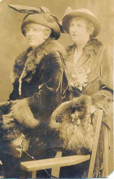 2 Fancy Women, Fur Coats, Hats, Corsages, Atlantic City, NJ Real Photo RPPC