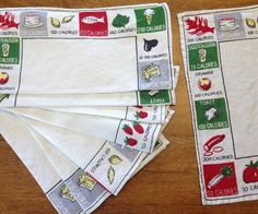 8 Vintage 1950's Napkins Printed Linen Food by AStringorTwo