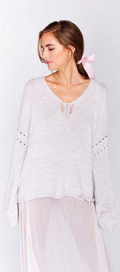 WILDFOX Blair Sweater Flecked White