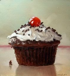 "Daily Paintworks - ""Chocolate Cupcake"" - Original Fine Art for Sale - © Michael Naples Cupcake Painting, Cupcake Art, Food Painting, Cupcake Original, Still Life Artists, Painting Still Life, Chocolate Cupcakes, Food Illustrations, Whimsical Art"