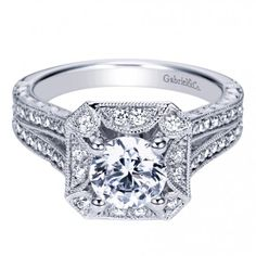 "Engagement Rings : ""Art Deco"" Halo Pave Diamond Engagement Ring ER8175W44JJ"