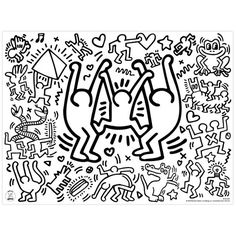 Placemats by Keith Haring Pop Art Drawing, Art Drawings, K Haring, Bathroom Graffiti, Keith Haring Art, Doodle Paint, Pattern Coloring Pages, Black And White Posters, Arte Pop