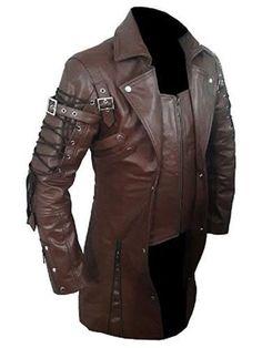Matrix Men's Trench Coat Steampunk Brown Leather Coat #byfashionpvt #BasicCoat