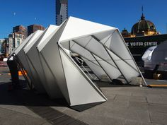 emergency shelters by woods bagot pop up in melbourne