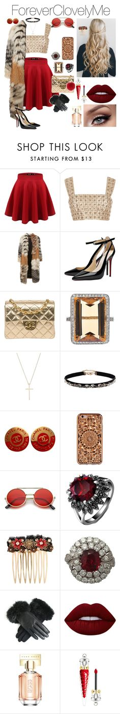 """""""12 Days of Christmas, Day 6"""" by foreverclovelyme ❤ liked on Polyvore featuring Oscar de la Renta, Roberto Cavalli, Chanel, Tiffany & Co., Accessorize, Felony Case, ZeroUV, Dolce&Gabbana, Lime Crime and HUGO"""