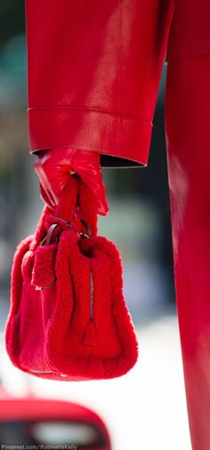 Red set - coat, gloves and purse