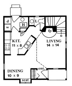 Home Plans HOMEPW12901   965 Square Feet, 2 Bedroom 1 Bathroom Gothic  Revival Home With