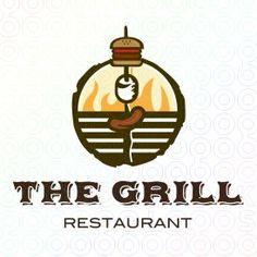 The Grill restaurant logo Logo Restaurant, Badge Design, Menu Design, Logo Branding, Branding Design, Grill Logo, Drinks Logo, Blue Tattoo, Make Your Own Logo