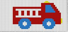 Knitting Patterns Boy Tricksy Knitter Charts: FIre truck by easyknit Beaded Cross Stitch, Cross Stitch Baby, Cross Stitch Embroidery, Baby Boy Knitting Patterns, Knitting Charts, Crochet Patterns, Crochet Ideas, Cross Stitch Designs, Cross Stitch Patterns