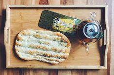 Barbari (persian bread) served with Shirin o Farhad serving board and persian tea Eat Together, Serving Board, Persian, Bread, Shopping, Food, Eten, Bakeries, Meals