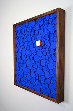 Welcome to Stains and Grains, custom compositions in wood.  Name: A Blockwork Orange  Size: 22w X 24h  Availability: Made to order  Presenting, A Blockwork Orange. This is an all original piece created by myself. I imagined a field of blue with this perfectly placed white square block