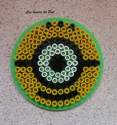Minion coaster hama perler beads by Les Loisirs de Pat