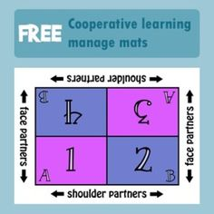 """Free Cooperative Learning Manage Mats - color and black and white. A management mat is a """"mat"""" that you place in the center of a table or. Cooperative Learning Strategies, Teaching Strategies, Cooperative Games, Siop Strategies, Teaching Ideas, Instructional Coaching, Instructional Strategies, Elementary School Counseling, Elementary Schools"""
