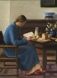 """""""London Breakfast, detail. Date: 1935. Nora Heysen (1911-2003). Realism. Oil on canvas.National Gallery of Australia. This is one of a number of paintings by Adelaide-born Heysen portraying her small flat in Kensington and, like the others, it is a homage to Vermeer."""" I need this one. I live just down the road. Besides that I like both Heysen's art. S"""