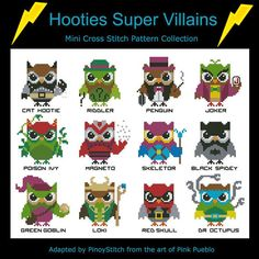 Hooties Super Villains Owls  Mini Collection Cross Stitch PDF Chart