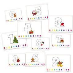 Números navideños para colorear
