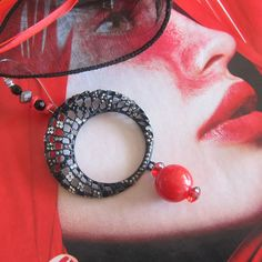 Black Mesh and a Ripe Cherry by VickiDianeDesigns on Etsy, $22.00