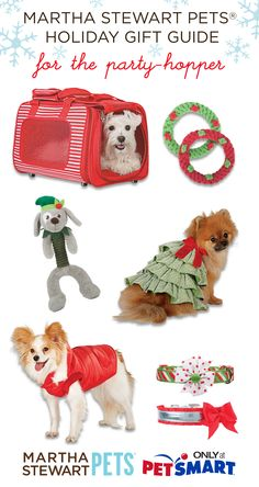Bringing your pets to #holidayparties or #grandma's? They will need a festive carrier, durable toys, and of course a fashionable holiday outfit! Shop #marthastewartpets @petsmartcorp