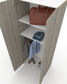 Two-door wardrobe F-503 A two-door wardrobe for use in all interior spaces. When high design aesthetics combine with modern materials then this is the result that we present you. This combination of other elements of the series will offer you infinite construction possibilities of beautiful compositions.
