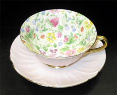 Shelley Oleander Pink Country Side Chintz Footed Cup Saucer Set Gold Trim #17711
