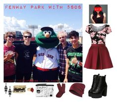 """""""Fenway Park With 5SOS"""" by fight-the-darkness ❤ liked on Polyvore featuring moda, P.A.R.O.S.H., Brooks Brothers, Monki, GUESS e Lola Rose"""