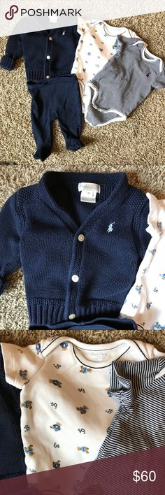 "🐣 Ralph Lauren Baby Boy 4-piece Lot All in EUC, no stains or damage.  Four pieces include: navy cardigan, bears onesie, striped navy/white onesie and navy footed pants.  All are 3 month size but the cardigan which is 6 month but I thought it ran ""slim"" and my baby wore it at the same time as the other pieces.  These new were about $90.  **check out all my maternity and baby listings, add your likes to a bundle to receive a personal discount offer from me 😁🐣 Ralph Lauren Matching Sets"