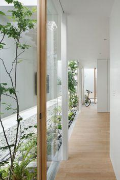 un petit jardin vert avec des pierres blanches