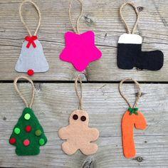 set of 6 felt christmas ornamentsxmas ornamentstree by TamsCorner