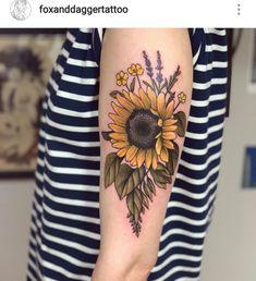 40 Sunflowers Tattoos Design Ideas for Women Sunflower tattoo Wolf Tattoos, Finger Tattoos, Forearm Tattoos, Body Art Tattoos, Sleeve Tattoos, Sunflower Tattoo Sleeve, Sunflower Tattoos, Sunflower Tattoo Design, Watercolor Sunflower Tattoo