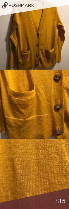 Loft Cardigan Mustard colored loft cardigan...v neck with pockets...see pic 3 for pilling on the front & sleeves LOFT Sweaters Cardigans