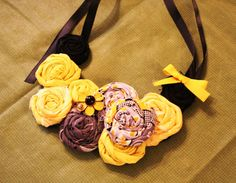 Gray and Yellow Fabric Rosette Necklace by RhinestonesandTutus, $15.00