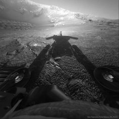 Shadow of a Martian Robot --- Mar. 29 --- Image Credit: Mars Exploration Rover Mission, JPL, NASA
