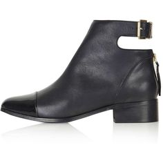 TOPSHOP ACE Back Buckle Boots (£92) ❤ liked on Polyvore featuring shoes, boots, ankle booties, zapatos, black, leather bootie, leather ankle boots, black boots, short leather boots and short boots