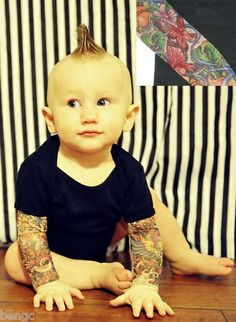 Wild Rose Salvation BUTTERFLY Tattoo Sleeve Baby Onesies Black One-Piece Shirt. - Thats too cute! If I had a kid, Id so buy it for her or him. I have a sleeved tattoo shirt myself; Id wear it out with my kid while they wear theirs. =]