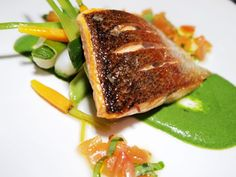 Pan-fried Sea Trout with Spinach Puree, Vegetables & Sauce Vierge.