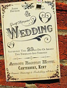 Victorian Themed Wedding Invitation