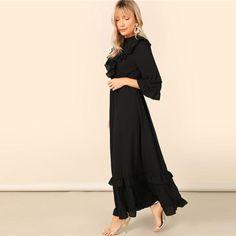 ca2f07b7 Black & Keyhole Back Layered Flounce Trim Hijab Maxi Dress for Women (Flounce  Sleeve, High Waist)