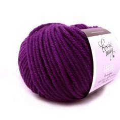 100/% Fine Merino Chunky Hand Knit Wool ~ Bessie May SNUG in Purple of Blueberry