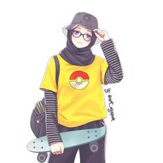 Ooo a skater girl Cool Anime Girl, Anime Art Girl, Hijab Drawing, Friend Cartoon, Islamic Cartoon, Hijab Cartoon, Islamic Girl, Cute Kawaii Drawings, Drawings Of Friends