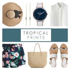 """""""Tropical Prints"""" by c-silla ❤ liked on Polyvore featuring New Look, Chicwish, Office, Eugenia Kim, Target, Nixon and jane"""