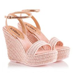 Fratelli Karida - Pink metallic braided jute high wedge heel &... ($205) ❤ liked on Polyvore featuring shoes, sandals, pink rose, pink sandals, metallic sandals, wedge sandals, platform espadrilles and platform sandals