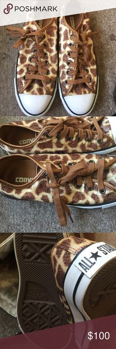 RARE CONVERSE Leopard print bling never worn to big for me I am a 6.5 and I thought they would fit Converse Shoes Athletic Shoes