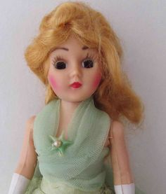 Vintage Doll Blonde Mohair & Sleep Eyes - Formal Tulle Pistachio Gown White Painted Gloves - 8 Inches