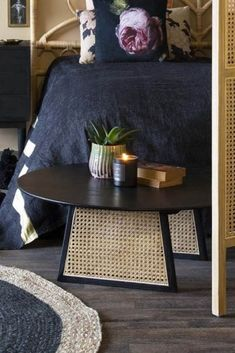A staple piece of furniture with modern detailing, the Sungkai Woven Cane Round Coffee Table is perfect for updating your interior with contemporary style. Round Black Coffee Table, Unique Coffee Table, Coffee Table Design, Modern Coffee Tables, Semarang, Coffee Table In Bedroom, Layout Design, Design Ideas, Grey Bedroom With Pop Of Color