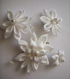 Fabric Flower flores de tela blanca