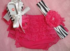 Alayna will have a ton of this stuff!!  3 piece set for Infant Hot Pink Lace Bloomers  Zebra by janibaby, $35.00