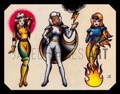 X-Men Tattoo Flash 1 - Tattoo - Populer Tattoo Pin Share Pin Up Girl Tattoo, Pin Up Tattoos, Great Tattoos, Girl Tattoos, Tattoos For Guys, Xmen, Rogue Tattoo, 1 Tattoo, Tattoo Flash