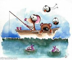 Original Watercolor Whimsy Art Illustration Mouse Teddy Fishing Boat Bird Fish | eBay